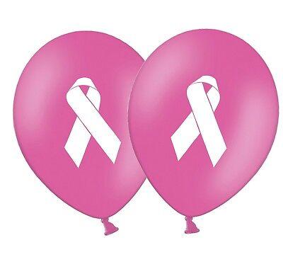 """Cancer Awareness Ribbon 12/"""" Printed Latex Hot Pink Balloons Pack of 20"""