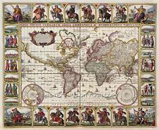 Riproduzione decorativa Vintage Old Color Colore Antico Visscher World Map muro