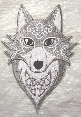 Wild Wolf with Celtic Knotwork Embroidered Iron on Patch - 2 Sizes available