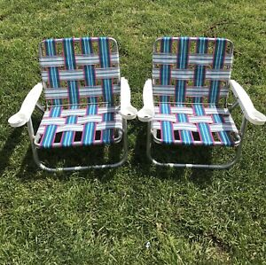 Excellent Details About Vintage Aluminum Webbed Folding Lawn Patio Outdoor Chairs With Cup Holders Ibusinesslaw Wood Chair Design Ideas Ibusinesslaworg