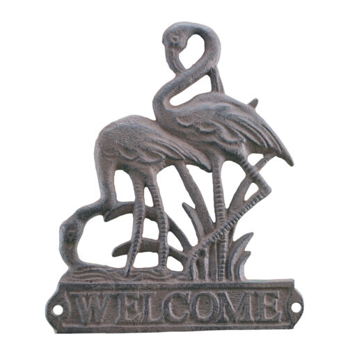 Flamingos Welcome Plaque Brown Cast Iron Beach Themed Sign