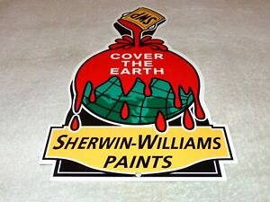 VINTAGE-034-SHERWIN-WILLIAMS-PAINTS-COVER-THE-EARTH-034-12-034-METAL-GASOLINE-amp-OIL-SIGN