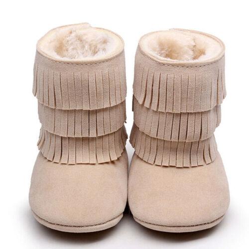Baby Newborn Girls Tassels Soft Winter Snow Boots Soft Crib Shoes Toddler Botts