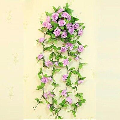 8Ft Artificial Fake Silk Rose Flower Ivy Vine Hanging Garland Wedding Home Decor