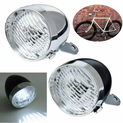 Classical Chrome Vintage Bicycle Bike LED Light Headlight Front Retro Head Lamp