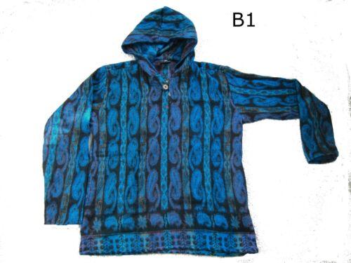 GRINGO Long Sleeve Boho Warm Hooded Striped Top Hoody UNISEX Fleece Hippy