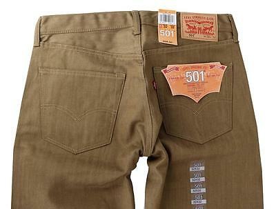 NEW LEVI'S 501 MEN'S ORIGINAL FIT STRAIGHT JEANS BUTTON FLY TOBACCO 501-1929