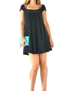 Vanessa-Bruno-Athe-Dress-Black-Smock-Tunic-Mini-Jersey-Empire-Waist-Size-10