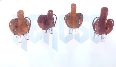 "Two Tone Orange-Red 3.5"" Elephant Smoking Pipe Herb bowl Animal Glass Hand Pipe"