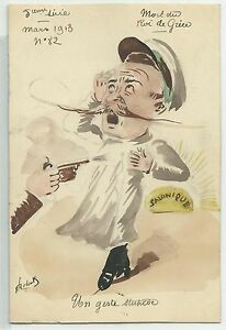 Greece murder of the king in Salonique handpainted cartoon signed ROBERTY 1913