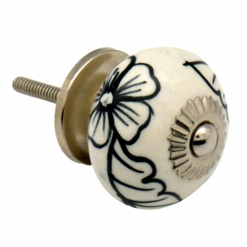 Floral Design Ceramic Door Knob Cabinet Drawer Handle Set x12 Black// White