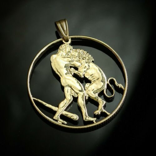 San Marino 200 lire Hercules fighting with lion Cut Coin Pendant with Necklace.