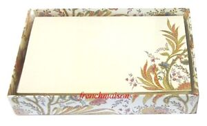 Gift-Set-of-10-Italian-Blank-FOLDOVER-CARDS-ENVELOPES-Gold-Multicolor-Floral-Box