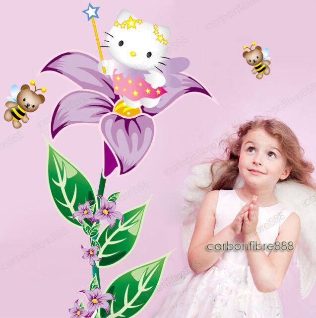 Grande Hello Kitty Fata Fiore Adesivi Da Parete Ragazze Decorazione Decalcomania
