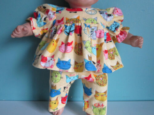 WHIMSICAL & COLORFUL KITTY CAT FACE YELLOW FLANNEL PAJAMAS fits Bitty Baby Twins