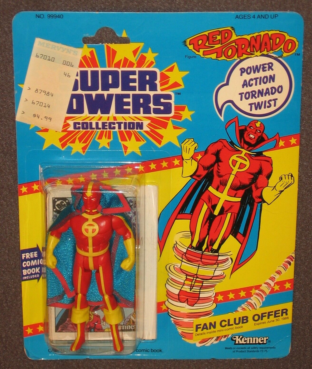 Super Powers Red Tornado 4.5  Action Figure 1985 MOC Kenner Carded DC Comics