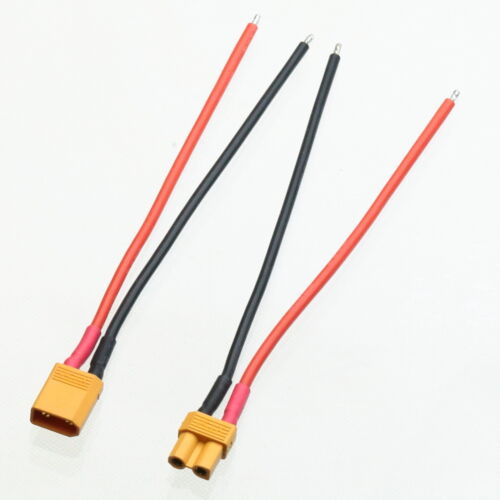 """1pair XT30 Male Female DIY Tinned End 4/"""" 18AWG Silicone Wire RC Airsoft Battery"""