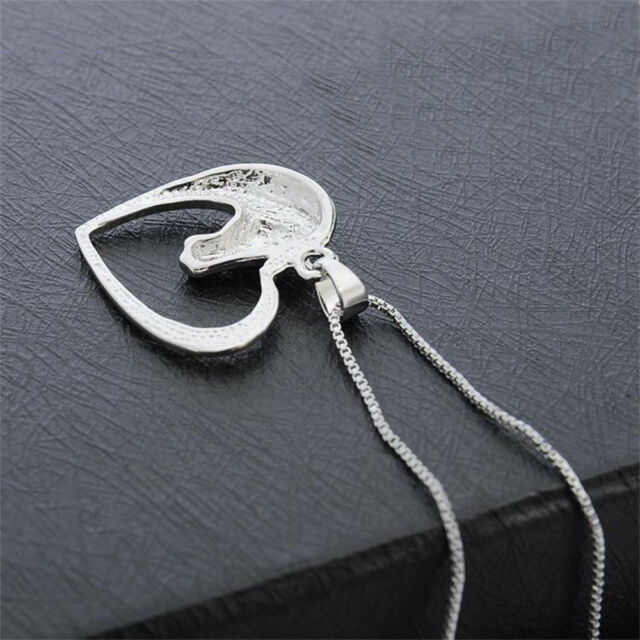 Animal Heart Charm Women Silver Hollow Jewelry Necklace Horse Head Pendant