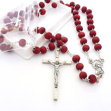 Red wooden very rose scented rosary 6mm beads 60cm long unisex Catholic gift box