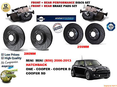 MINI R56 ONE COOPER D 1.6 06-13 FRONT /& REAR BRAKE DISCS AND PADS /&2 SENSORS