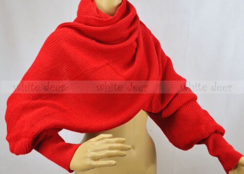 """96/"""" Long Solid Color Knit Sleeve Winter Scarf Shawl Crochet Warm Dual Purpose"""