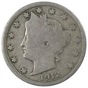 1912 Liberty Head V Nickel 5 Cent Piece VG Very Good 5c US Coin Collectible