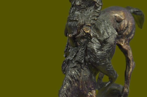 Signed Remington Native American Indian Riding Horse Bronze Sculpture Statue Art