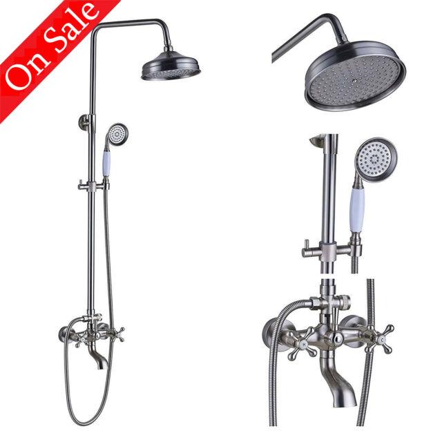 Chrome Wall Mounted Bathroom 8 Inch Rainfall Shower Faucet Mixer Tap Spray Set