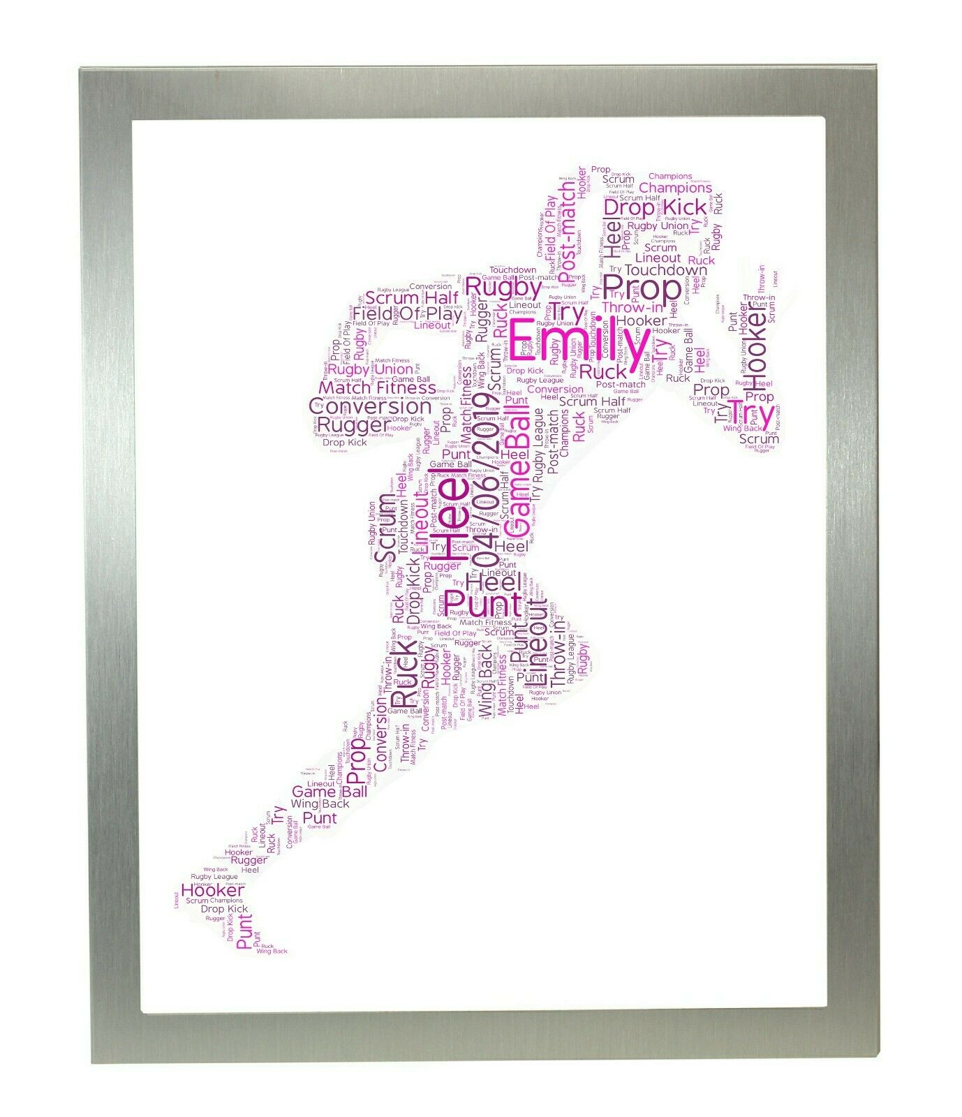 Personalised Word Art Print damen Rugby Player Birthday Mothers Day Xmas Gifts