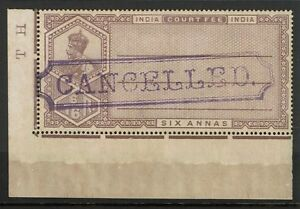 India-1913-6a-Court-Fee-034-Cancelled-034-SPECIMEN-MH-Toned-Gum-S2223