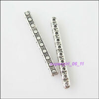 5Pcs Tibetan Silver 10-Hole Spacer Bar Beads Charms Connectors 3.5x33mm