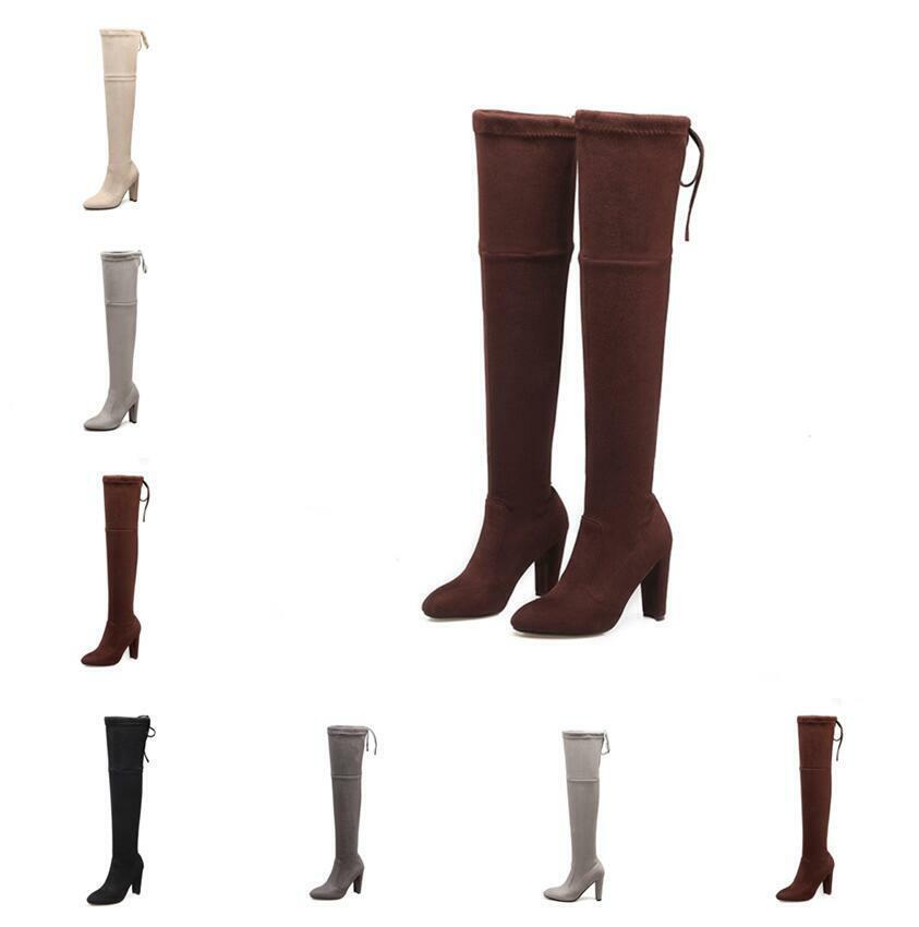 6 Farben 44 46 Damenpumps Spitz Overknee Blockabsatz Stretch-Stiefel Schnürung