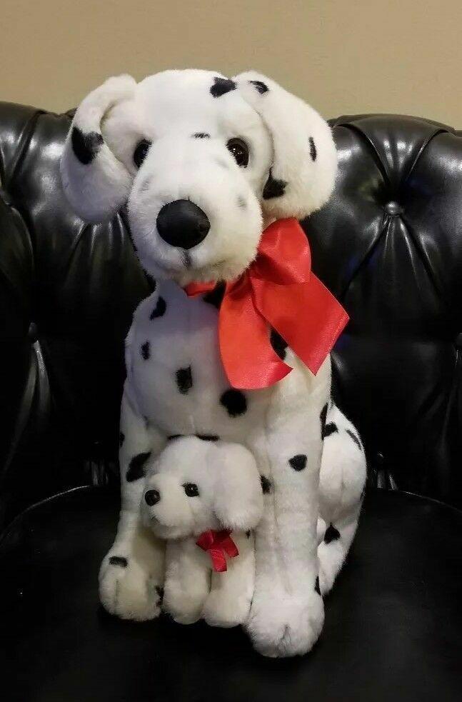 Chosun Chosun Realistic Dalmatian dog plush & puppy Holiday Christmas Bow LARGE 18