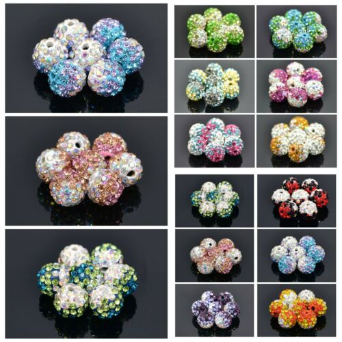 NEW ARRIVAL 10PCS 10MM SHAMBALLA TWO TONE ROUND CRYSTAL CLAY BEADS