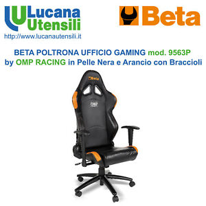 Details zu BETA POLTRONA UFFICIO GAMING mod. 9563P OMP RACING Pelle Nera  Arancio Braccioli