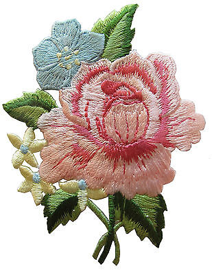"""#4028 3"""" Pink Peony Bouquet Flower Embroidery Iron On Applique Patch"""