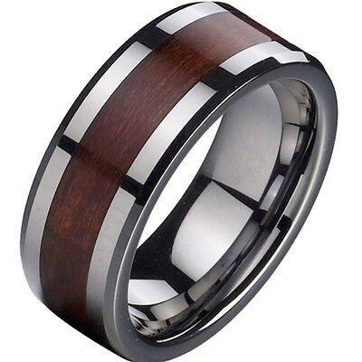 8MM Eheringe Wolfram Tungsten Trauringe Valentinstag Ringe Wedding Holz Mann NEU