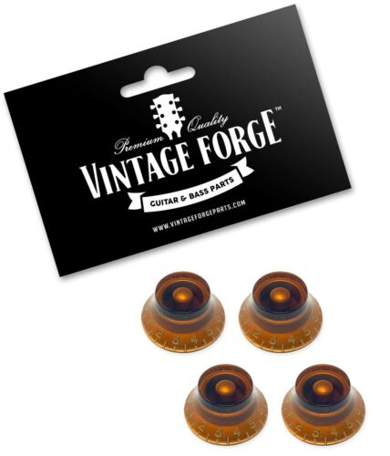 SET OF 4 AMBER TOP HAT BELL KNOBS FOR GIBSON USA LES PAUL GUITAR CTS *NEW*