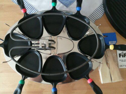 FIF Raclette Grill blau 1x Benutzt 8 Pfännchen und heiße Platte