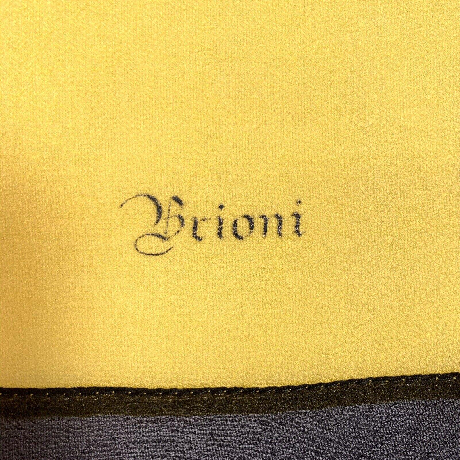 Vtg 80s Brioni Italy Big Sheer Yellow & Black Pol… - image 5