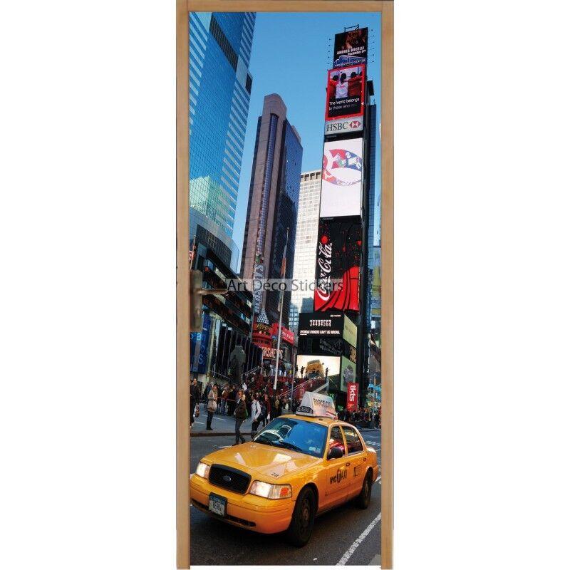 Pegatinas deco puerta New York Taxi ref 212 212