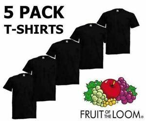 Black-5-Pack-Mens-Fruit-of-The-Loom-Plain-Cotton-Tshirt-T-Shirt-Blank-All-Sizes