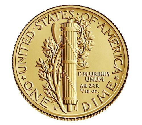 2016 W Mercury Dime Centennial Gold Coin w// BOX /& COA 1//10 oz 24k Gold 10¢