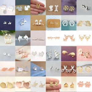 Fashion-Women-039-s-Girl-925-Silver-Plated-Earrings-Cute-Ear-Stud-Jewelry-Gifts