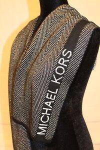 Michael-Kors-Metallic-Silver-Black-Herringbone-Logo-Women-039-s-Scarf-MSRP-52-NEW