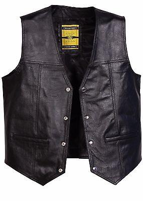 KöStlich Leather Waistcoat Biker Motorcycle Gilet Motorbike Vest Black/ Timeless Cowhide