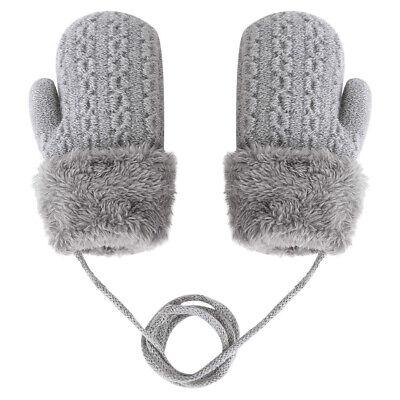 0-5 Years Old Boys Girls Lovely Ski Gloves Winter Thick Velvet Knitted Mittens