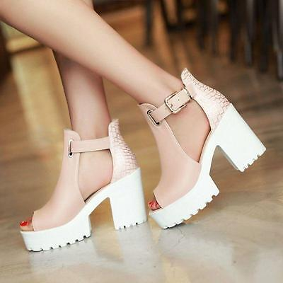 Stylish Womens Chunky Heels Peep Toe Casual Platform Cut Out Sandals Date Shoes