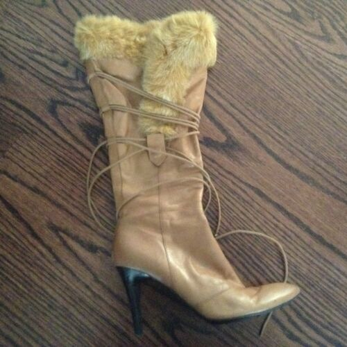 Nine West lace up boots in camel color and fur tri