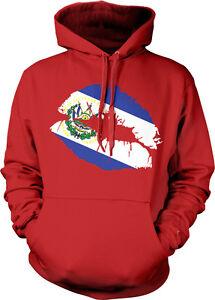 con Kiss Slv Flag capucha Sv Salvadoran Sudadera Lipstick Salvador El Colors Lips WxaA1vvqn